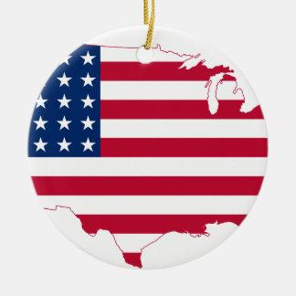 米国の地図の旗 セラミックオーナメント