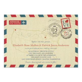 米国の地図の航空郵便の結婚式招待状 カード