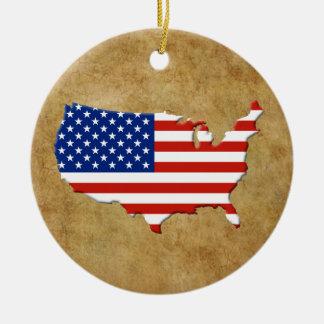 米国の地図 セラミックオーナメント