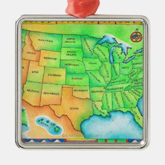 米国の地図 メタルオーナメント