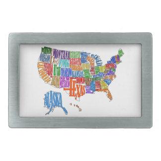 米国の地図 長方形ベルトバックル