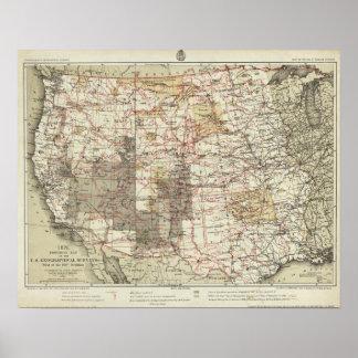 米国の地理的な調査の1878進歩の地図 ポスター