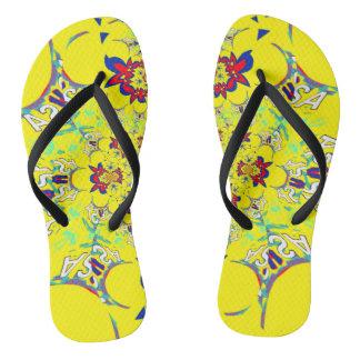米国の多彩で明るい花の夏パターンデザイン ビーチサンダル
