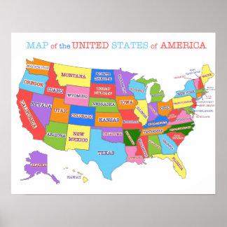 米国の多彩の地図 ポスター