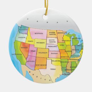 米国の州の地図 セラミックオーナメント