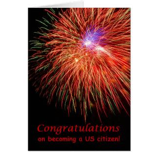 米国の市民権のお祝い、赤い花火 カード