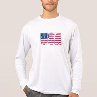 米国の性能マイクロ繊維の長袖(02) Tシャツ