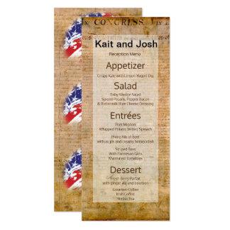 米国の愛国心が強いメニュー独立宣言 カード