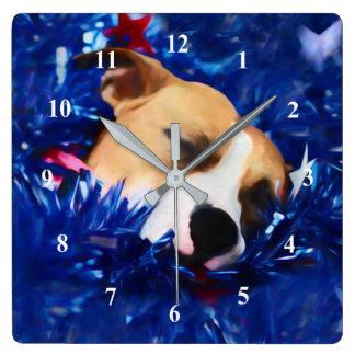 米国の愛国心が強い犬のアメリカのピット・ブルテリア スクエア壁時計