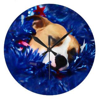 米国の愛国心が強い犬のアメリカのピット・ブルテリア ラージ壁時計