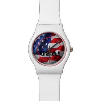 米国の愛国心が強い米国旗の白の調節可能な腕時計 腕時計