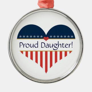 米国の愛国心が強く誇り高い娘の円形の銀製のオーナメント メタルオーナメント