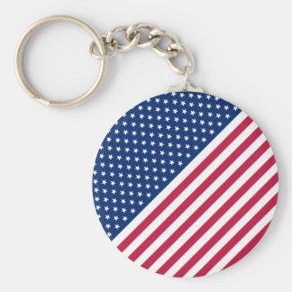 米国の愛国心が強く赤く青く白い星ストライプなKeychain キーホルダー