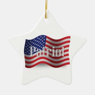 米国の愛国者の振る旗 セラミックオーナメント