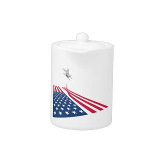 米国の戦闘機の出発の米国旗