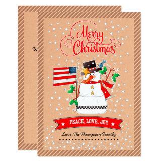 米国の旗が付いているおもしろいな雪だるま。 クリスマスカード カード