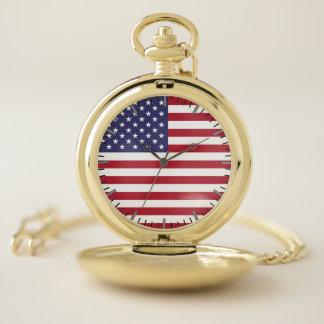 米国の旗が付いている愛国心が強い壊中時計 ポケットウォッチ