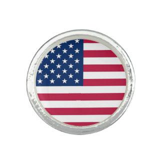米国の旗が付いている愛国心が強く、特別なリングや輪 リング