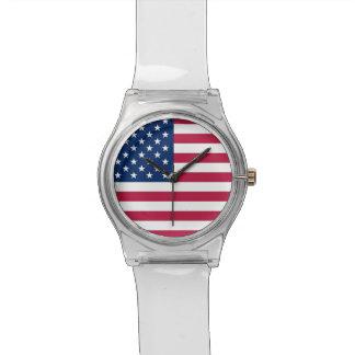 米国の旗が付いている愛国心が強く、特別な子供の腕時計 腕時計