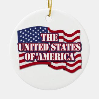 米国の旗が付いている米国 セラミックオーナメント