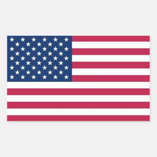 米国の旗が付いている長方形のステッカー 長方形シール