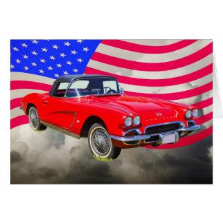 米国の旗が付いている1962年のシボレー・コルベット カード