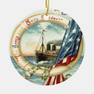 米国の旗のいかりによっては救命具が開花します セラミックオーナメント