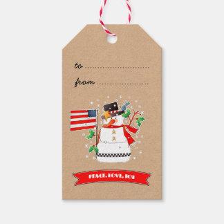 米国の旗のクリスマスのギフトのラベルが付いているおもしろいな雪だるま ギフトタグ