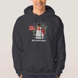 米国の旗のクリスマスのフード付きスウェットシャツのおもしろいな雪だるま パーカ