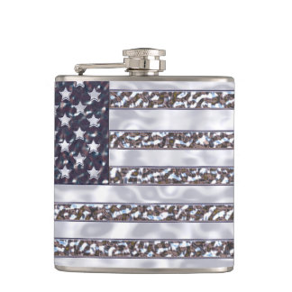 米国の旗のクロムビニールの包まれたなフラスコ フラスク