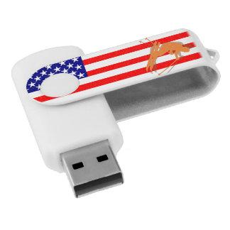 米国の旗のスキー冬季スポーツ米国 USBフラッシュドライブ