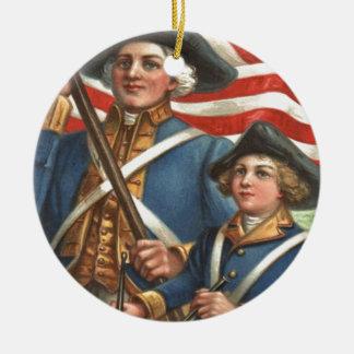 米国の旗のドラマーの男の子の兵士の花火 セラミックオーナメント