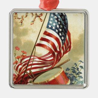 米国の旗のドラムは私をNotsの花忘れます メタルオーナメント