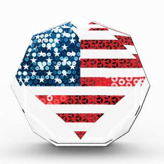 米国の旗のハート 表彰盾
