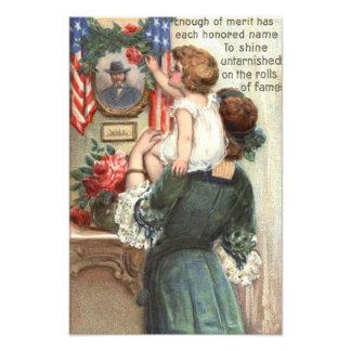 米国の旗のビクトリアンな母子供のバラのリース フォトプリント