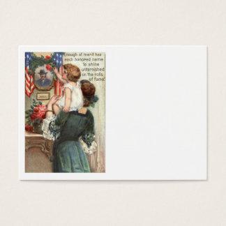 米国の旗のビクトリアンな母子供のバラのリース 名刺