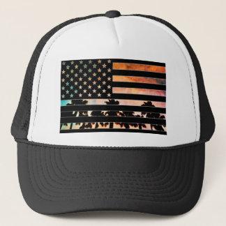 米国の旗のヤシの木の日没の帽子 キャップ