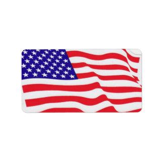米国の旗のラベル ラベル