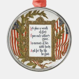 米国の旗のリースのメモリアルデー メタルオーナメント