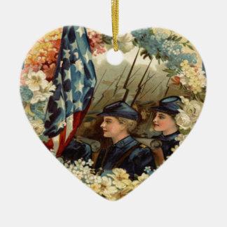 米国の旗のリースパレードの3月の内戦 セラミックオーナメント