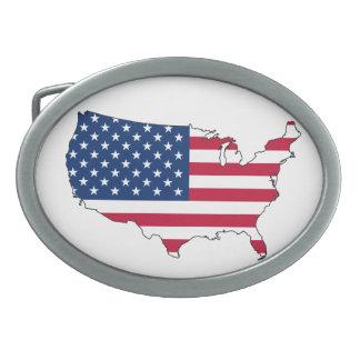 米国の旗の地図 卵形バックル