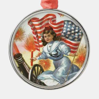 米国の旗の大砲の女の子の花火の爆竹 メタルオーナメント