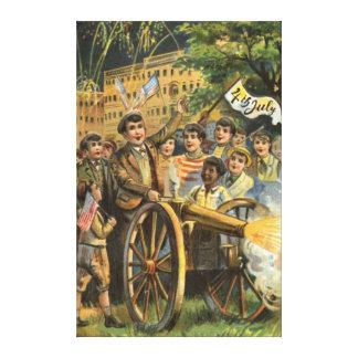 米国の旗の大砲の花火の爆竹 キャンバスプリント