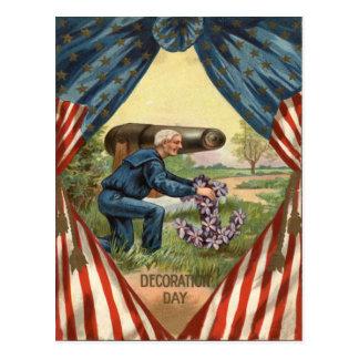 米国の旗の大砲の退役軍人のいかりのリース ポストカード