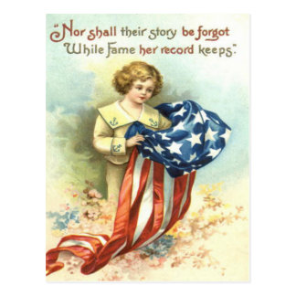 米国の旗の子供のユニフォームの花 ポストカード