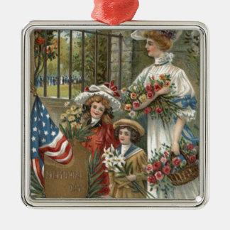 米国の旗の子供の母花のリース メタルオーナメント
