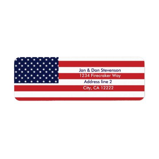 米国の旗の差出人住所ラベルは主演しましたり及び縞で飾ります ラベル