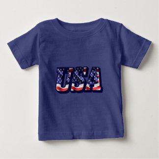 米国の旗の手紙、旗のベビーの罰金のジャージーのTシャツ ベビーTシャツ
