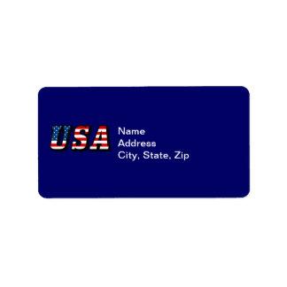 米国の旗の文字の宛名ラベル ラベル
