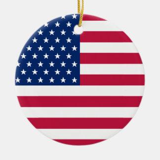 米国の旗の星ストライプなアメリカの愛国心が強いクリスマス セラミックオーナメント